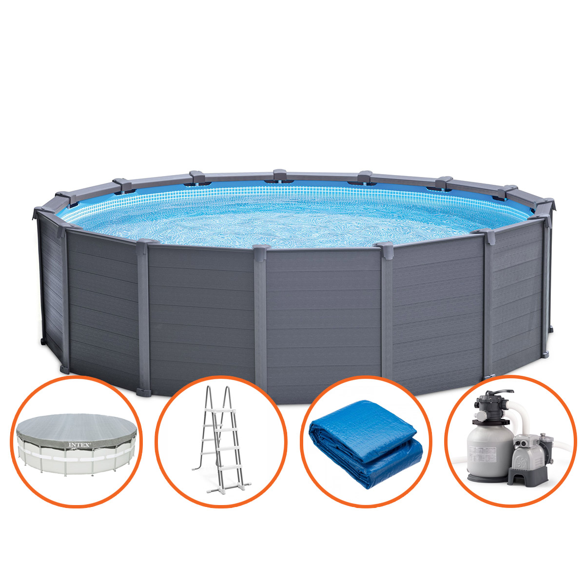 Intex Graphite Panel Pool - 478 x 124 cm - met zandfilterpomp en accessoires