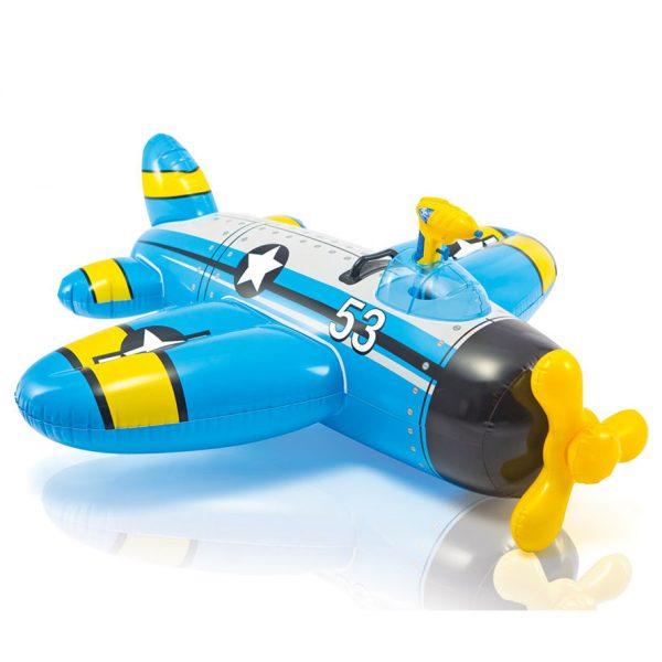 Intex opblaasbaar vliegtuig met waterpistool blauw (132 cm)