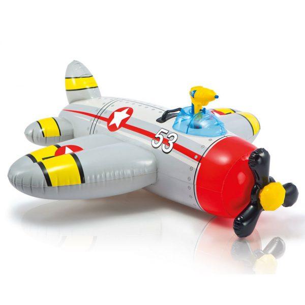 Intex opblaasbaar vliegtuig met waterpistool grijs (132 cm)