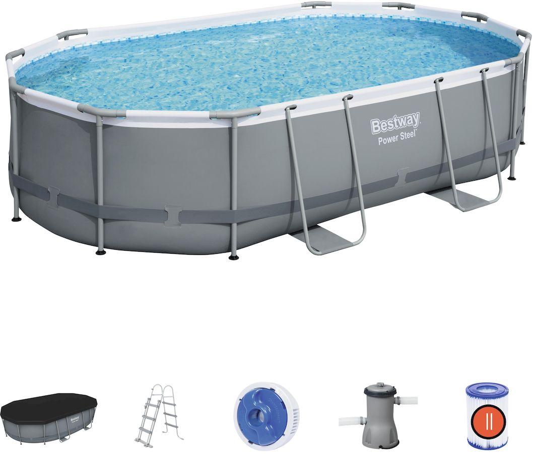 Bestway Power Steel Oval zwembad - 488 x 305 x 107 cm - met filterpomp en accessoires
